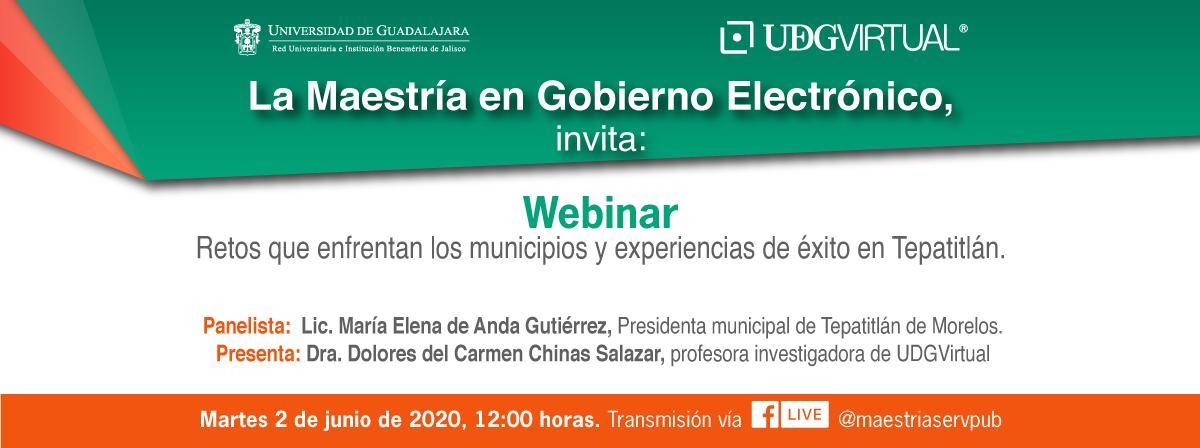 """Webinar """"Retos que enfrentan los municipios y experiencias de éxito en Tepatitlán, 2 de junio 12 horas"""
